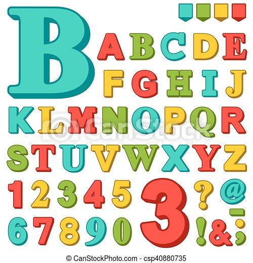 Letras y números de colores brillantes - csp40880735