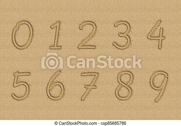 números, escrito, playa., arena - csp85685786