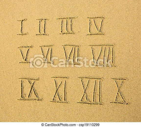 Números romanos escritos en una playa arenosa. - csp19110299