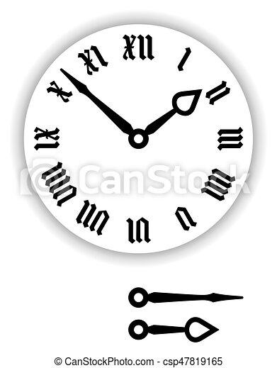 Números Romano Reloj Fraktur Cara Fraktur Pointers Esfera