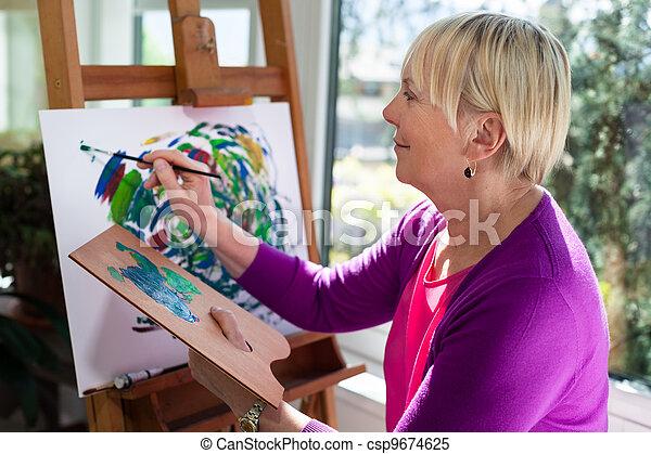 nő, öregedő, móka, otthon, festmény, boldog - csp9674625