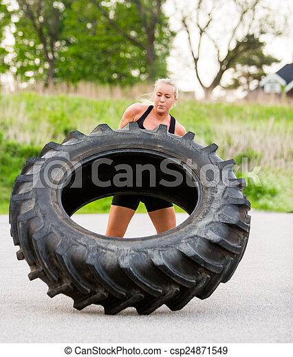 nő, autógumi, fricskázó, egészséges, szabadban - csp24871549