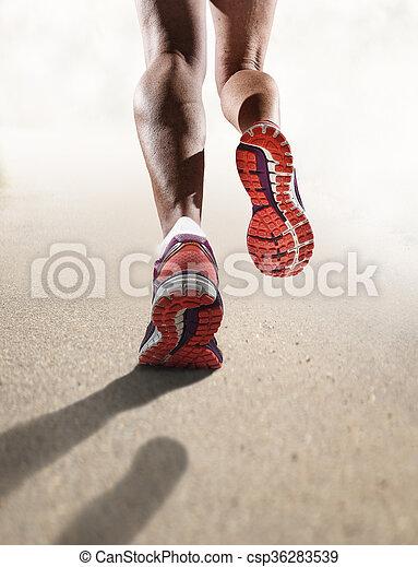 nő, cipők, atlétikai, futás, feláll, kocogás, sport, erős, női, becsuk, combok, hátsó kilátás - csp36283539