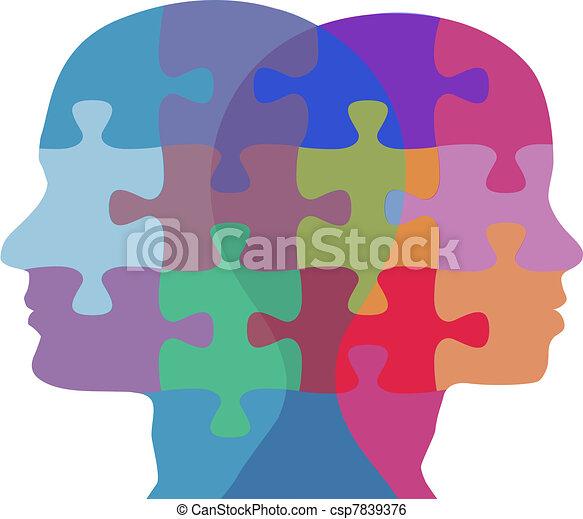 nő, emberek, rejtvény, arc, probléma, ember - csp7839376