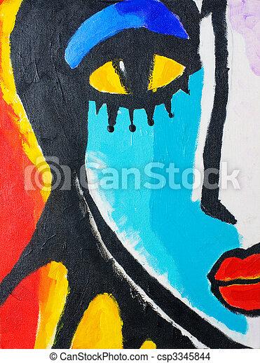 nő, festmény - csp3345844