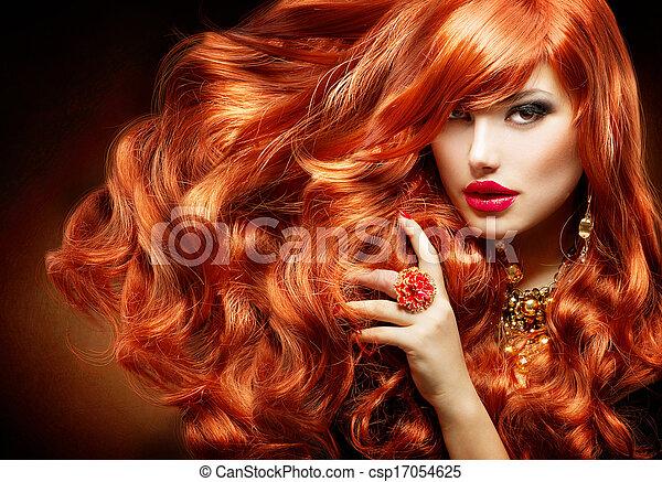 nő, göndör, hosszú, mód, hair., portré, piros - csp17054625