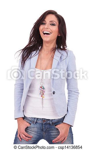 nő, kényelmes, nevető - csp14136854