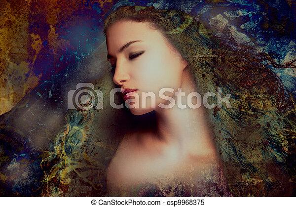 nő, képzelet - csp9968375