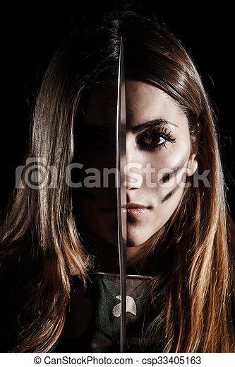 nő, neki, arc, középső, birtok, kés - csp33405163