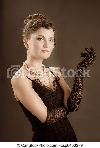 nő, portrait., retro újjászületés - csp6450379