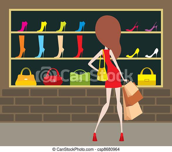 nő, shop-front. - csp8680964