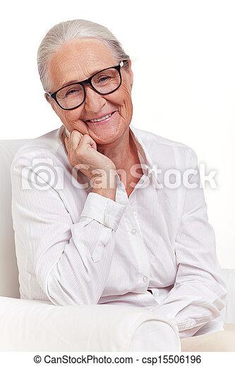 nő, szemüveg, öregedő - csp15506196