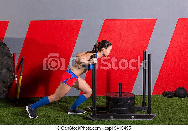 nő, tréning, rámenős, szánkó, mér, tol, gyakorlás - csp19419495