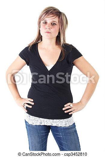 nő, young felnőtt - csp3452810