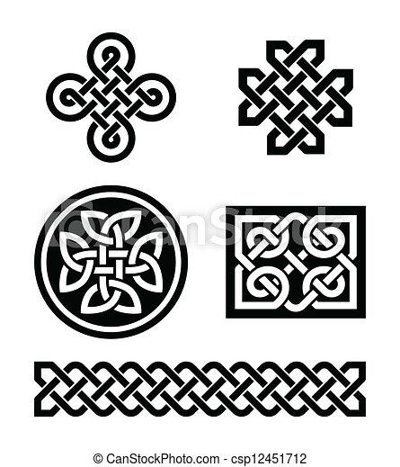 Dessin Celtique nœuds, motifs, celtique, vecteur, - symboles, celtique, ensemble