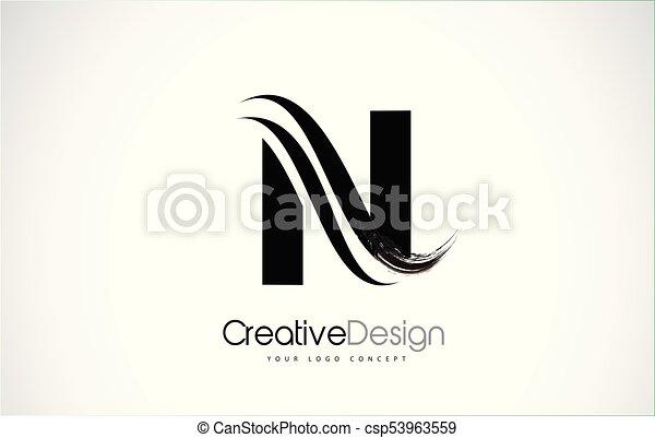 N Letter Design Brush Paint Stroke Logo With Black Paintbrush
