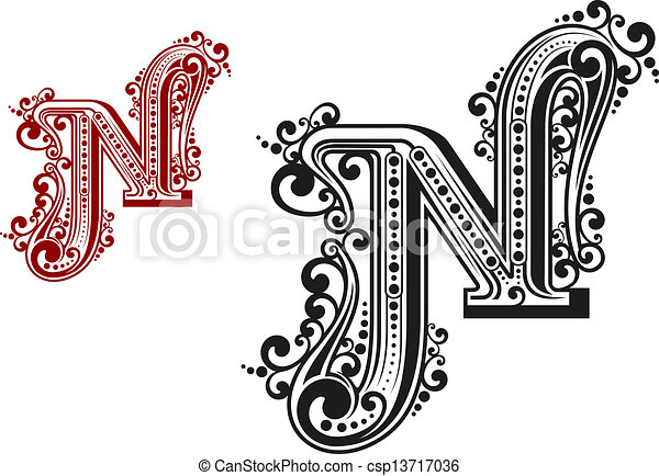 N Letter In Vintage Calligraphic Style Isolated On White Background