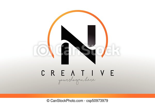 n letter logo design with black orange color cool modern icon template