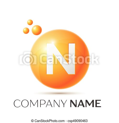 N Letter Splash Logo Orange Dots And Circle Bubble Design On Grey Background Vector