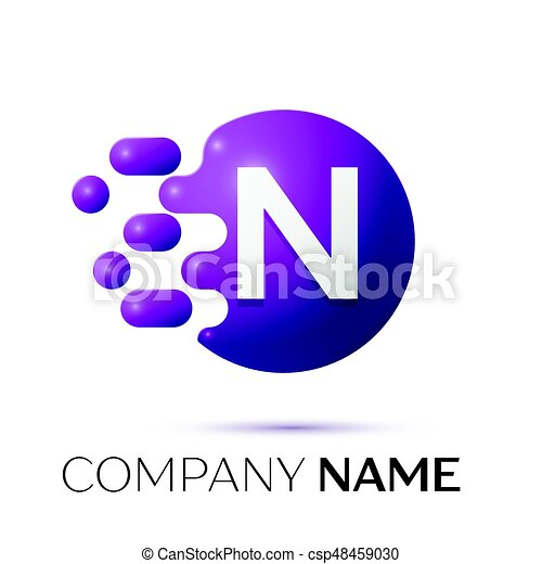 N Letter Splash Logo Purple Dots And Circle Bubble Design On Grey Background Vector