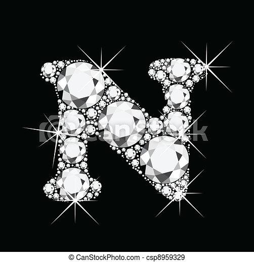 N letter with diamonds bling bling - csp8959329