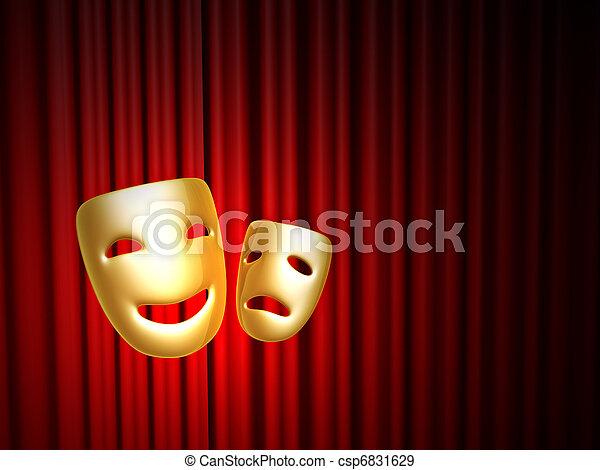 na, maski, kurtyna, komedia, tragedia, czerwony - csp6831629
