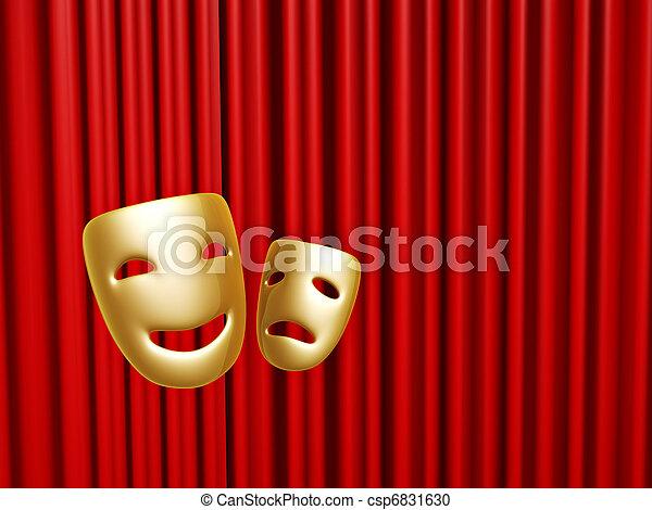 na, maski, kurtyna, komedia, tragedia, czerwony - csp6831630