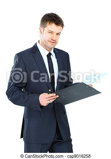 na, odizolowany, kupiec pisanie, elegancki, clipboard, nosić, tło, garnitur, krawat, biały - csp9016258