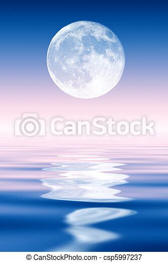 na, pełny, powstanie, ocean., księżyc - csp5997237