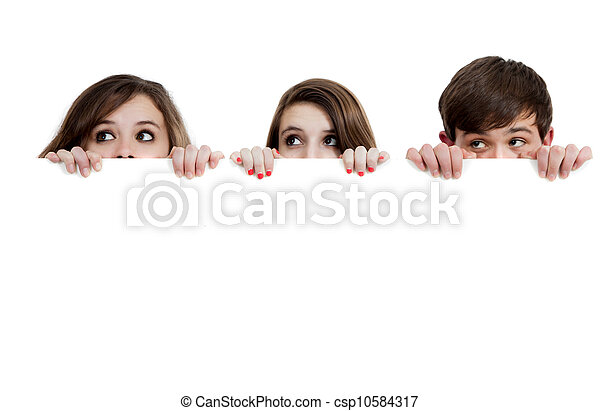 na, trzy, nastolatki, zerkanie, tło, biały - csp10584317