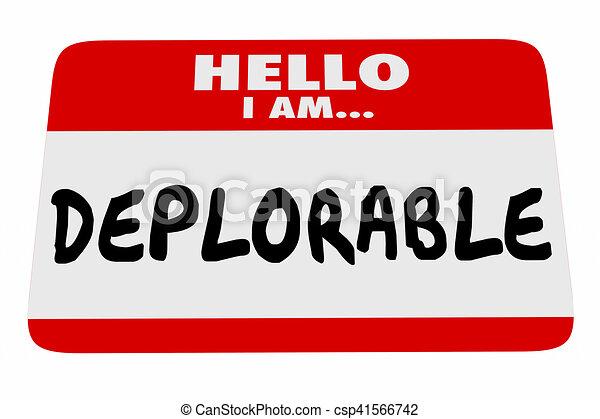 naam, groet, illustratie, label, woorden, deplorable, hallo, 3d - csp41566742