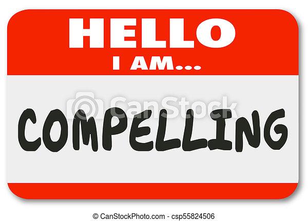 naam, interessant, illustratie, label, het dwingen, opwindende , hallo, 3d - csp55824506