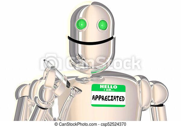 naam, robot, illustratie, hallo, label, gewaardeerde, erkenning, 3d - csp52524370