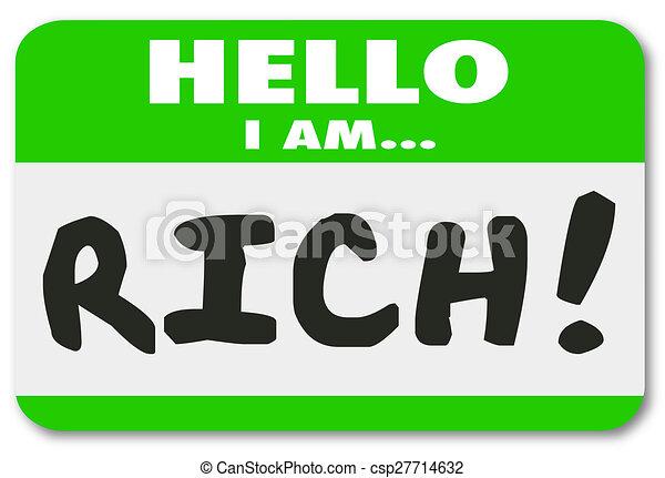 naam, sticker, rijk, pocherij, label, rijk, rijk, rijkdom, hallo - csp27714632