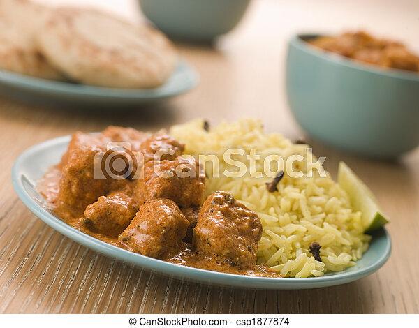 naan, korma, pilau, plaqué, poulet, riz, pain - csp1877874