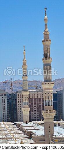 nabawi, meczet, dwa, minarety - csp14265052