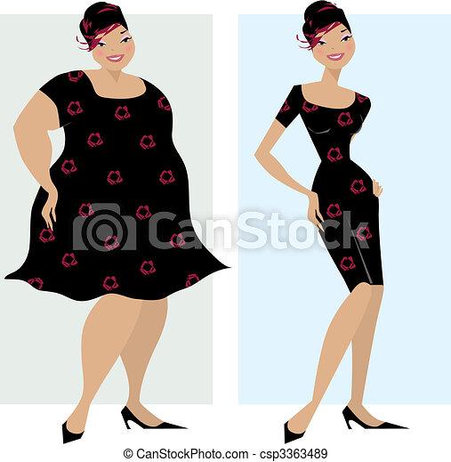 Vor und nach der Diät - csp3363489