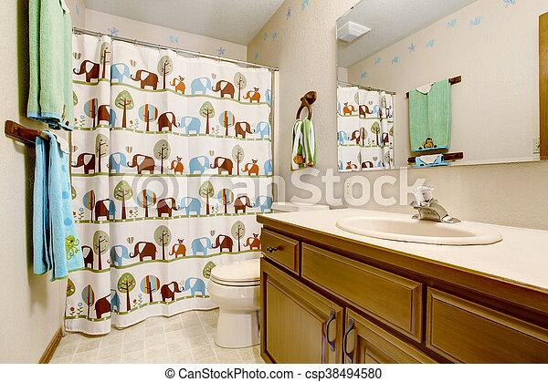 Nachgebildet, Blaues, Badezimmer, Kinder, Grün, Tier, Vorhang,  Inneneinrichtung, Towels. Stockfoto