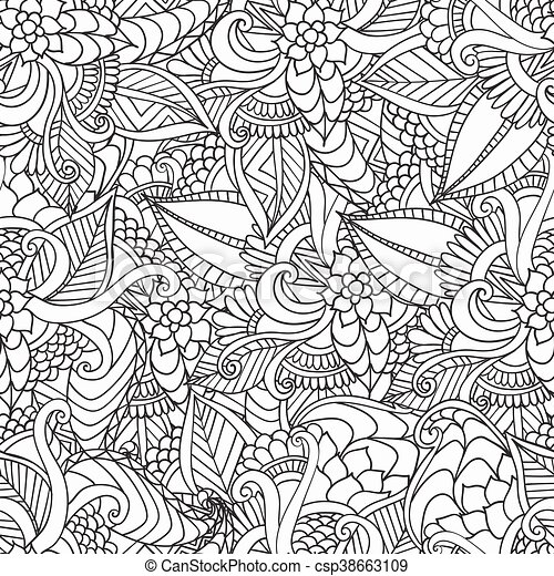 Nachgebildet, dekorativ, färbung, doodle., rahmen, book.,... Vektor ...