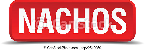 Nachos red 3d square button isolated on white - csp22512959