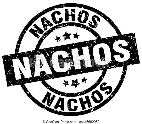 Nachos Round Grunge Black Stamp