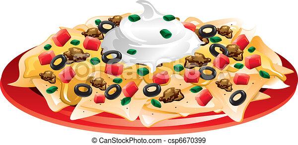 illustration of a nachos supreme eps vectors search clip art rh canstockphoto com nachos clipart png nacho clipart