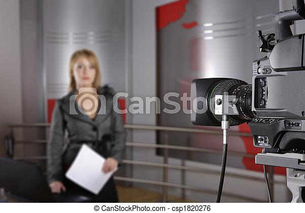nachrichten, fernsehkamera, video, reporter - csp1820276