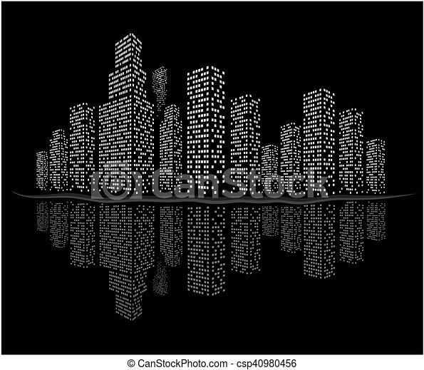 nacht, cityscape. - csp40980456