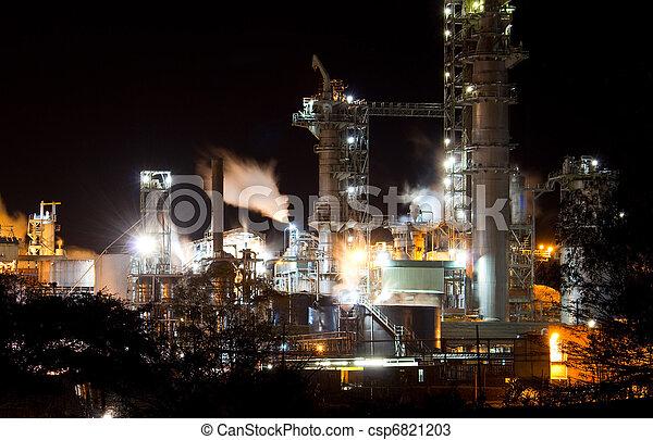 nacht, industriebedrijven, aanzicht - csp6821203