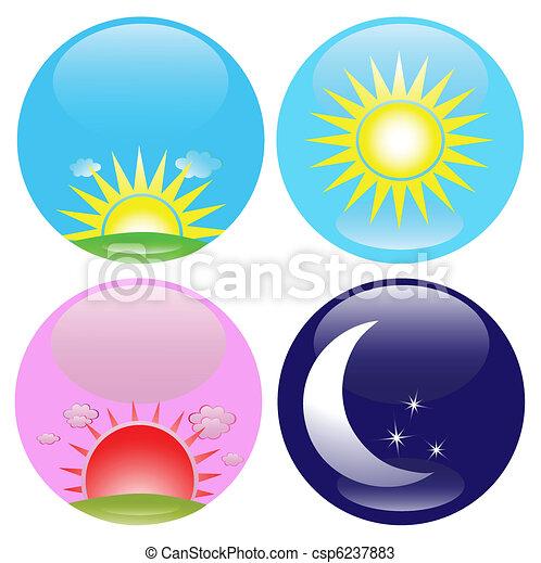 nacht, set, dag, iconen - csp6237883
