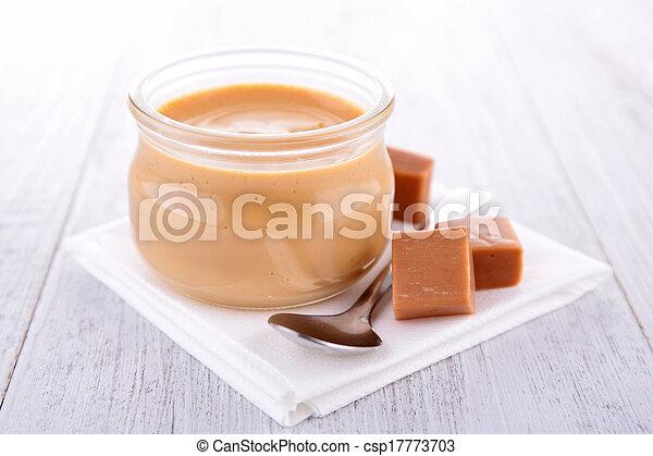 nachtisch, karamell, creme - csp17773703