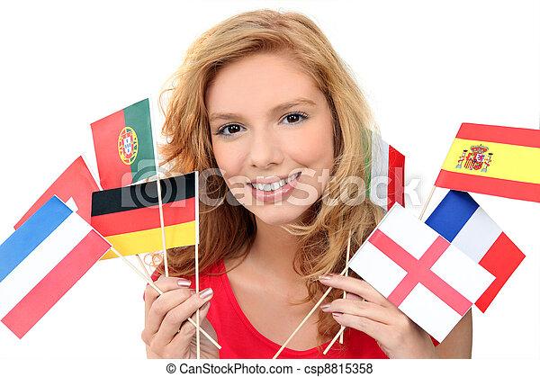 nacional, bandeiras, menina, segurando, grupo - csp8815358