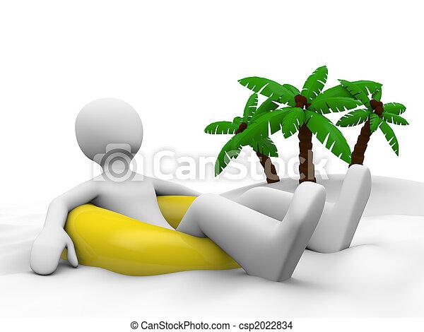 Un hombre de vacaciones tirado en el ring de natación - csp2022834