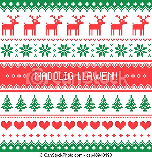 Nadolig llawen merry christmas in welsh greetings card seamless nadolig llawen merry christmas in welsh greetings card seamless pattern csp48940490 m4hsunfo